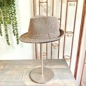 Houndstooth Wool Fedora Hat Brown & Cream